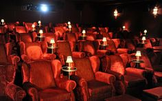 The Soho House West Hollywood Screening Room is now open. Featuring deep red velvet armchairs, a 25ft long communal lounging couch, cashmere blankets, pillows and ottomans, the space seats up to 50 people and can be used for movie and TV screenings, conferences, presentations and meetings. The state of the art room offers a 16.5ft x 7ft screen and is equipped for both digital and 35mm, 2D and 3D, full 2048 × 1080 resolution and Dolby Surround 7.1.