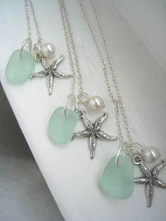 Starfish and Aqua Sea Glass Necklaces. Tiffany Blue Beach Wedding. Beach Wedding. $79.00, via Etsy.