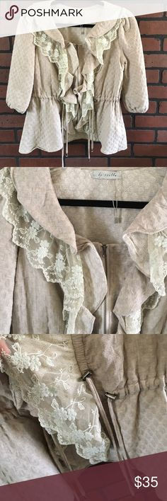Anthropologie by Stella jacket🌼 BoHo style zip front jacket with lace trim 🌼material is 100% cotton🌼 silver hardware  🌼 adjustable waist and front with drawstring slides see pic 3 🌼 elbow length sleeves 🌼 Anthropologie Jackets & Coats