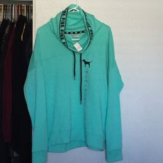PINK Teal and black sweater New with tags. Size LARGE PINK Victoria's Secret Sweaters Crew & Scoop Necks