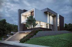 Modern Villa Designs by Kristalika Design Architecture Design, Concrete Architecture, Facade Design, Residential Architecture, Exterior Design, Stucco Exterior, Exterior Tradicional, Dream House Exterior, Facade House