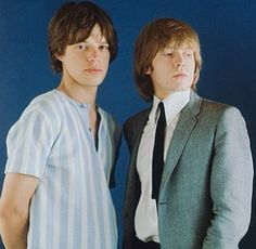 """Mick Jagger and Brian Jones. It was Brian who always oozed """"cool"""". Brian Jones Rolling Stones, Mick Jagger Rolling Stones, Los Rolling Stones, Rock N Roll, Rollin Stones, Elevator Music, Moves Like Jagger, Bella Hadid Style, Howl At The Moon"""