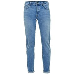 TOPMAN Light Wash Blue Stretch Slim Jeans (33.695 CLP) ❤ liked on Polyvore featuring men's fashion, men's clothing, men's jeans, blue, mens stretch jeans, mens stretchy jeans, mens slim jeans, mens slim cut jeans and mens super skinny stretch jeans