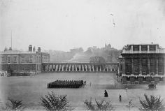 Boys on the parade ground at the Royal Hospital School, Greenwich 1870