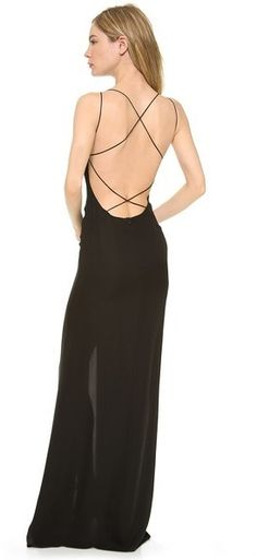 This low-cut, strappy detailed back just took the classic black dress to another level (in a GOOD way). // Crossed Back Maxi Dress by Olcay Gulsen Sexy Wedding Dresses, Formal Evening Dresses, Sexy Dresses, Dress Outfits, Casual Dresses, Backless Dresses, Work Outfits, Dress Backs, Dress Up
