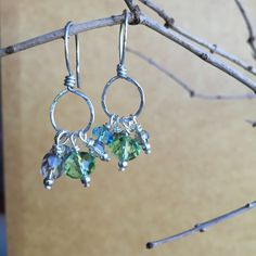 A personal favorite from my Etsy shop https://www.etsy.com/listing/252077253/blue-green-and-grey-cluster-earrings