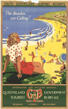 South Queensland Surfing Resorts. The Beaches are Calling! Painted design featuring a beach scene with people, ca. 1939 / Artist M. Anderson. The State of Queensland (DTESB) is the owner and responsible public agency of the artistic work. Crown Copyright has expired. QSA. Digital Image ID 22140 http://www.archivessearch.qld.gov.au/Image/DigitalImageDetails.aspx?ImageId=22140 | thefashionarchives.org