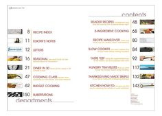 Magazine Spread: Table of Contents: Contents and Departments by Kristine Campbell, via Flickr