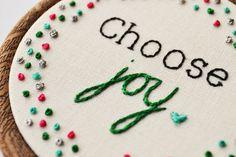 Hand Embroidery 'Choose Joy' Motivational/inspirational Quote Miniature Hoop Art