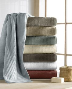 CassaDecor Set of 6 Combed Long Staple Turkish Cotton Ribbed Towels Bath Towels, 2 Hand Towels and 2 Wash Cloths) - Urbane by Kassatex, Spa Blue Construction Crafts, Tub Mat, Bath Mat, Turkish Cotton Towels, Decorative Towels, Bath Sheets, Bath Linens, Bathroom Towels, Small Bathroom