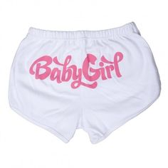 Baby Girl Booty Shorts White ($19) ❤ liked on Polyvore featuring bottoms and shorts