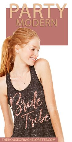"Outfit your Tribe in these modern ""Bride Tribe"" shirts in rose gold glitter! Bachelorette Party Shirts, Team Bride, Rose Gold Glitter, Racerback Tank, Gold Letters, Entourage, Bridal, Tank Tops, Pretty"