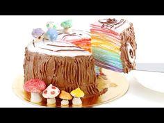 Rainbow Log Mille Crêpe Cake Mille Crepes DIY Rainbow Treats 무지개 크레이프 케이크 - YouTube