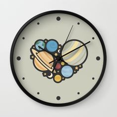 Heart of an Astronaut Wall Clock - Astronaut, astronauts, space, planet, planets, star, stars, solar system, Mercury, Venus, Earth, Mars, Jupiter, Saturn, Neptune, Pluto, sky, science, astronomy, astronomer, heart, hearts, love, vector, art, design, illustration, drawing, cute, simple, nerd, nerdy, science
