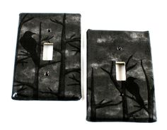 Raven Wood - Hand covered Switch Plate - Goth - Gothic - Dark Home Decor - Unique - Gifts under 10 Dark Home Decor, Goth Home Decor, Home Decor Items, Home Decor Accessories, Gothic Room, Gothic House, Black Furniture, Furniture Decor, Gifts Under 10
