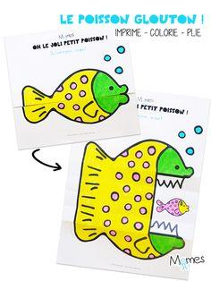 Oh, mais qu'il est mignon ce poisson... ou pas ! Voilà un coloriage surprenant qui s'anime au dépliage !