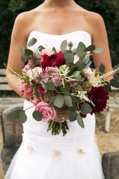 Marsala Rustic Bouquet   Article: Marsala Wedding Ideas Inspired by Pantone's Color of the Year    Photography: Jeannie Mutrais / Flower Duet   Read More:  http://www.insideweddings.com/news/planning-design/marsala-wedding-ideas-inspired-by-pantones-color-of-the-year/2023/