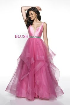 Tank style ballgown with a crystal beaded waistline and a full tulle skirt layered with tiers trimmed with a horse hair hem. Blush Prom Dress, Blush Dresses, Prom Dresses, Formal Dresses, High Fashion Trends, Indian Bridal Fashion, Prom Dress Shopping, Affordable Dresses, Bridal Style