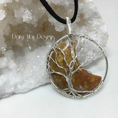 - Indian Agate sterling silver tree of life moon wire wrapped jewelry necklace pendant Wire Wrapped Pendant, Wire Wrapped Jewelry, Wire Jewelry, Pendant Jewelry, Jewelry Necklaces, Jewellery, Wire Crafts, Jewelry Crafts, Jewelry Ideas