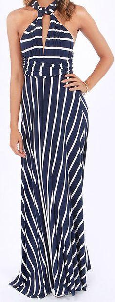 Navy Blue Striped Infinity Dress