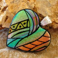 Fused Glass Heart Pendant Dichroic Fused Glass Hand by GlassCat, $32.50