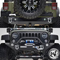07-17 JK Jeep Wrangler Front Bumper W/LED Light+Rear Bumper W/Tire Carrier Combo