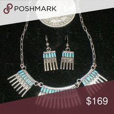 Vintage silver turquoise  Zuni necklace earrings Old Native American turquoise and silver necklace and earring set. This is a vintage needlepoint set which is characteristic of the Zuni Jewelry