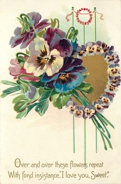 """""""Over and over these flowers repeat ~ With fond insistance, """"I love you, Sweet.""""  Bunch of pansies & pansy bordered heart.  1908"""