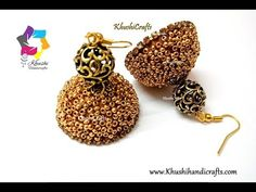 Beaded Silk thread jhumka in 5 mins-Festive collection Silk Thread Jhumkas, Silk Thread Earrings, Thread Jewellery, Diy Jewellery, Diy Jewelry Tutorials, Beading Tutorials, Earring Tutorial, Diy Tutorial, Indian Arts And Crafts
