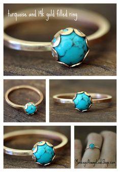 Turquoise 14k Gold Filled Ring from Monkeys Always Look  http://www.monkeysalwayslookshop.com/products/turquoise-14k-gold-filled-ring