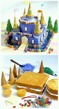 Schloss Kuchen Tutorial Schloss Kuchen Castle Birthday Cake - Blue Candy castle cake for several kids with September birthdays at a local shelter cinderella castle cake Beautiful Cakes, Amazing Cakes, Cake Cookies, Cupcake Cakes, Cupcake Recipes, Castle Birthday Cakes, Princess Birthday Cakes, Kale Pasta, Crazy Cakes