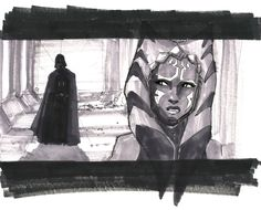 Concept art of the original Ahsoka vs Vader fight!!! It would have taken place in the show Star Wars: The Clone Wars!!! (Drawn by Dave Filoni)