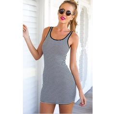Navy Striped Mini Dress Stretchy silky material. Boutique Dresses Mini