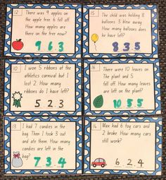 Subtraction from 10 Word Problem Write & Wipe Cards