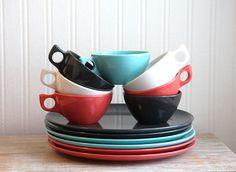Melmac Diner dinnerware Vintage plates cups 13 Piece Set in tuquoise or aqua pink gray retro kitchen decor