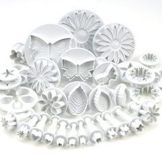 10 SETS (30 PCS) PLUNGER CUTTERS SUGARCRAFT CAKE DECORATING NEW (Heart, Veined butterfly, star, Daisy, veined rose leaf ,Carnation, Blossom, flower, Sunflower , other)