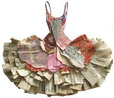 """""""Too Too Wonderful"""" - Paper Collage by artist Peter Clark. (Love the creative way he's formed the tutu from paper. Paper Fashion, Dress Fashion, Book Crafts, Arts And Crafts, Diy Crafts, Origami, Altered Books, Altered Art, Collage Kunst"""