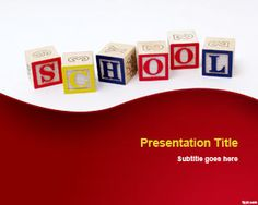 Free Learning PowerPoint template is a presentation design template for school presentations with the SCHOOL word created using blocks