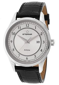 Men's Wrist Watches - Eterna 252041641258 Mens Artena Black Genuine Leather White Dial * See this great product.