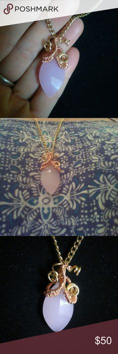 Pink stone wire wrapped I hand crafted this beaitiful pink stone either Jewelry Necklaces