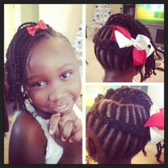 Little girl cornrow updo. I'm going to try this on my daughter I'll more likely put beads in it though
