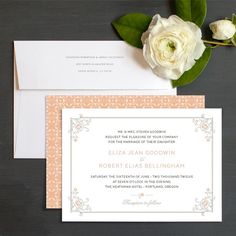 Floral frame wedding invite in peach