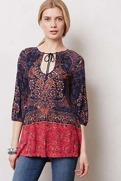 Anthropologie - Blushed Paisley Peasant Tunic