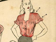 Shoulder & Sleeve Tucks A tuck is a fold or pleat sewn flat onto a garment. This 1940s blouse pattern features tucks on the shoulders and on sleeves to create a ruffle effect.