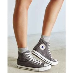 Converse Grey High tops Worn once. Great condition. Nice deep feet- a classic staple. Converse Shoes