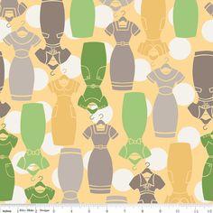 Riley Blake Millie's Closet Dresses Green Fabric by fabricalacarte