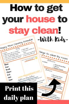 How to keep a clean house using this daily house cleaning schedule. Works as a weekly cleaning schedule too. What to clean each day, with a room by room cleaning checklist. Weekly Cleaning, Deep Cleaning Tips, Cleaning Checklist, House Cleaning Tips, Cleaning Solutions, Spring Cleaning, Cleaning Hacks, Cleaning Schedules, Cleaning Recipes