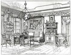 Design de interiores 1884 para a revista Arts and Crafts de Munich,Alemanha.