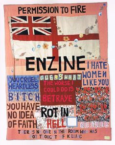 Tracey Emin Hate and Power Can be a Terrible Thing Date 2004 Medium Textiles Dimensions Object: 2700 x 2060 x 3 mm Tabula Rasa, Textile Fiber Art, Textile Artists, Tracey Emin, Art Terms, Political Art, Political Events, Vintage Poster, A Level Art