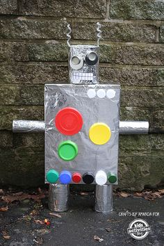 Recycled cereal box robot. We love recycled crafts!